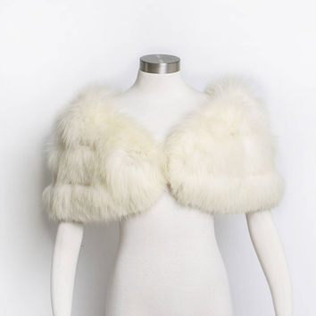 Vintage 1950s FOX Fur Stole - Ivory Plush Fluffy Wrap Jacket - Small / XS