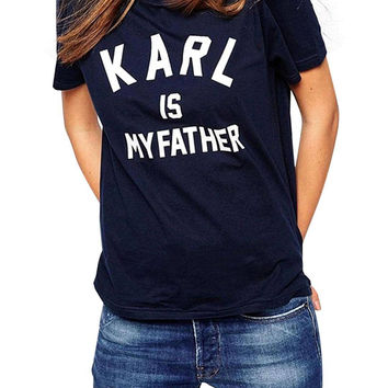 "Navy Blue ""KARL IS MY FATHER"" Letter Print T-shirt"