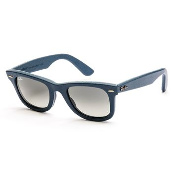 Ray-Ban Wayfarer Leather Sunglasses 50mm (Blue / Grey Gradient)