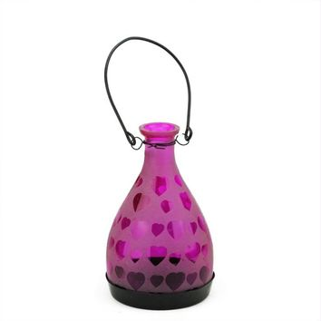 "6.25"" Frosted Pink Hearts Glass Bottle Tea Light Candle Lantern Decoration"