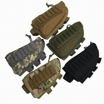 Tactical Rifle Shotgun Buttstock Cheek Rest Rifle Stock Ammo Shell Nylon Magazine Molle Pouch Holder Tan