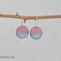 Pink + blue enamel earrings, pantone 2016, rose quartz, serenity, fun, summer, dainty, casual, feminine, gift for her, handmade, kiln fired