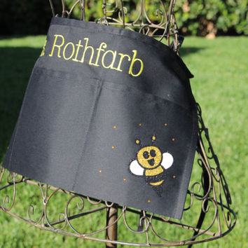 Custom Half Apron, Teachers, Mom, Bumble Bee, Personalized Apron, Embroidered Apron, Classroom, Sunday School, Children's Ministry