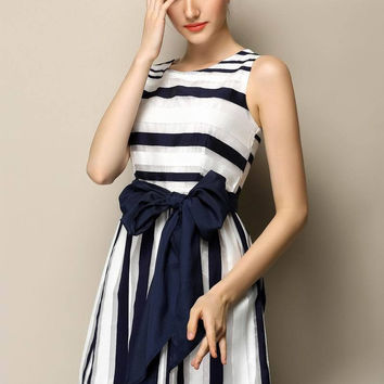 Striped Bow Belted Sleeveless A-Line Mini Dress