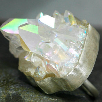 Massive Opal Aura Quartz Ring- Sterling Silver