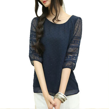 Korea style plus size sheer blouses short sleeve blusas chiffon shirts big size women clothes summer Womens tops fashion 2016