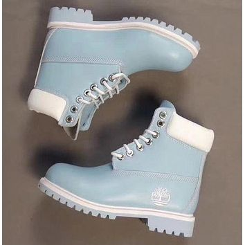 Timberland Rhubarb boots for men and women shoes waterproof Martin boots lovers  Light blue - white