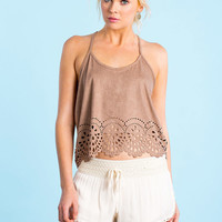Laser Cut Suede Crop Top