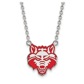NCAA Sterling Silver Arkansas State Enamel Large Pendant Necklace