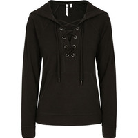 LACE-UP FRONT HOODIE