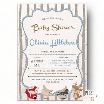 Woodland Baby Shower Invitation // Baby Boy Shower Invitation Printable // Forest Friends Baby Shower Invite // Deer Baby Shower Invitation