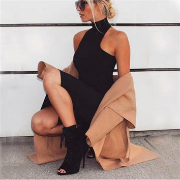 Black Turtleneck Sleeveless Dress