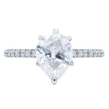 Pear Crushed Ice Moissanite 6 Prongs Diamond Accent Ice Cathedral Solitaire Ring