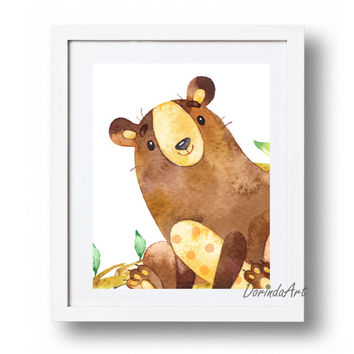 Printable Bear Print Nursery bear art Watercolor nursery animal decor Boys bedroom Woodlands animal Wall art DOWNLOAD 5x7 8x10 11x14 16x20