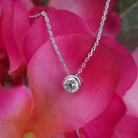 SALE .5 Carat Bezel Set Necklace, Pendant, D Color Flawless Man Made Diamond Simulants, Anniversary, Bridal, Sterling Silver, 16-18 in chain