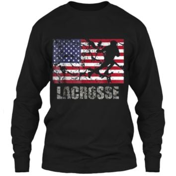 Lacrosse American Flag T-Shirt USA Flag Fan Vintage Retro LS Ultra Cotton Tshirt