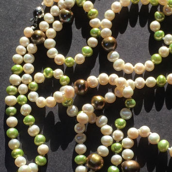 """60"""" long Ivory-color Freshwater Pearl Necklace with green pearls"""