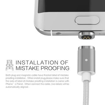 Wsken 100cm 2.4A Fast Charging mini Magnetic Micro USB Cable for Samsung S7/S7 edge/Huawei/HTC
