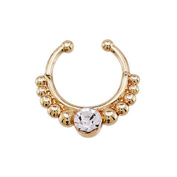 Unisex Non-piercing Septum Jewelry Gold Tone Multi Shape Fake Nose Ring (No Piercing Required) (Style5)