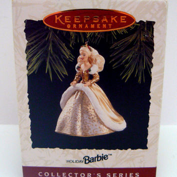 Barbie Holiday Barbie Ornament Hallmark Keepsake Collectors Christmas 2nd in Series Second Happy Holidays Gold Gown Doll Ornament