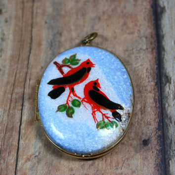 Vintage Locket,  Guilloche Enamel Locket,  Red Birds Cardinals Snow birds Goldtone Locket