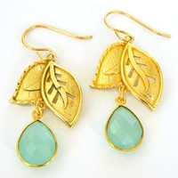 Bezel Set Chalcedony Drop Gold Leaf Short Dangle Handmade Earrings | DoubleSJewelry - Jewelry on ArtFire