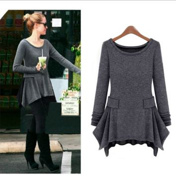 Grey Long Sleeve Asymmetrical Knitted Dress