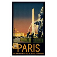 PARIS TRAVEL POSTER For French Railway Networks 1930 24X36 VINTAGE