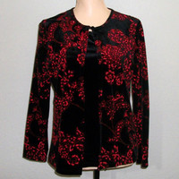 Black Velvet Top Party Top Black Velvet Jacket and Top Metallic Black & Red Top Sparkly Top Christmas Clothing Size Small Womens Clothing