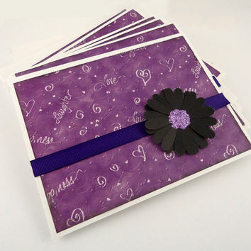 Blank Note Cards Set of 6,  Flower Notecards, Purple & Black, Mother's Day, All Occasion, Thank You, handmade