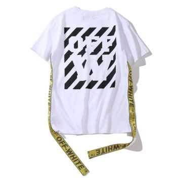 Off White New fashion letter print ribbon letter couple top -shirt White