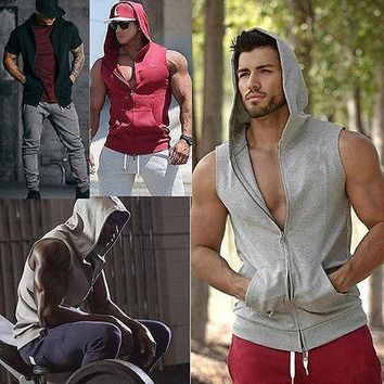 Men Clothing Bodybuilding Muscle Hooded  Zipper Sleeveless Sweatshirts Athleisure Hoodie Hippie Hooded