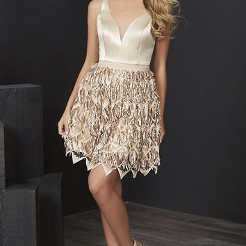 Tiffany Homecoming - 27220 Plunging Brocade Sequin-Fringed Dress