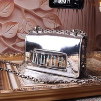 DIOR WOMEN'S GLOSS LEATHER WOC INCLINED CHAIN SHOULDER BAG