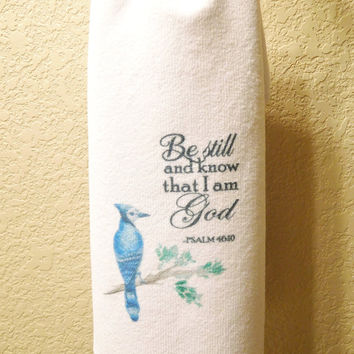 Hand Towel - Kitchen Towel - Bible Verse Hanging Hand Towel - Blue Jay Bathroom Accessory