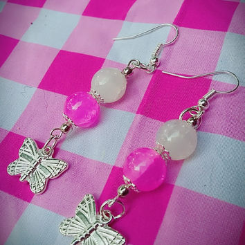 Pink white and silver bead earrings with silver butterflies
