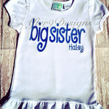 Big Sister or Brother personalized shirt or by AfterNineDesigns