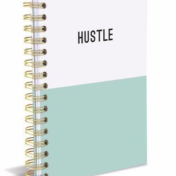 HUSTLE Dipped Hard Cover Journal in Mint and White