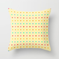 Colored Hearts Throw Pillow by kasseggs