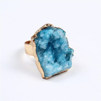 Dayoff Bohemia Geometric Irregular Natural Stone Ring For Women Jewelry Gift Drusy Druzy Rings Woman Wedding Engagement Ring R6