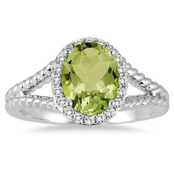 2 Carat Peridot and Diamond Ring in 10K White Gold