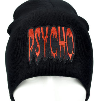 Blood Drip Psycho Beanie Knit Cap Alternative Horror