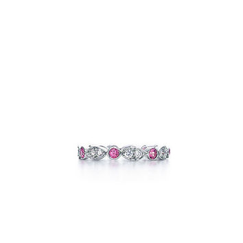 Tiffany & Co. -  Tiffany Swing ring of pink sapphires and diamonds in platinum.