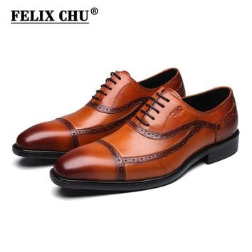 FELIX CHU Brown Black Genuine Leather Mens Lace Up Cap Toe Formal Oxford Brogue Man Office Party Dress Wedding Shoes #1815-83