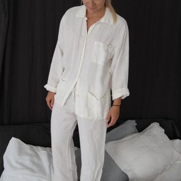 Linen pajama, linen sleepwear,linen pants and linen skirt  made by mooshop