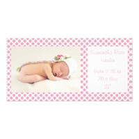 Pink Polka Dots Baby Announcements