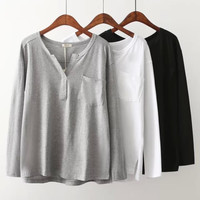 Plain V-Neck Pocket Long Sleeve Shirt