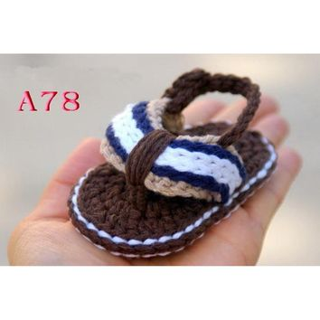 Free Shipping Crochet Baby shoes, Baby boy Brown Flip Flops, Crochet Baby Shoes, Sizes 0-12 Months