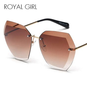 ROYAL GIRL Brand Designer Women Sunglasses Vintage Rimless frame Summer Lens shade glasses SS260