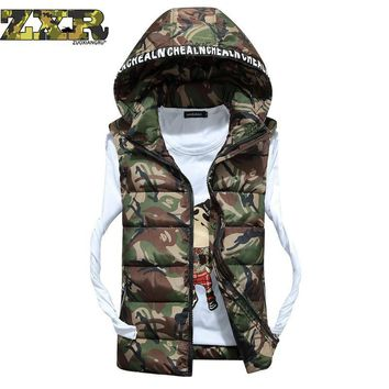 Zuoxiangru Hooded Camouflage Vests Men Winter Sleeveless Casual Tactical Jackets Male Slim Camo Waistcoats